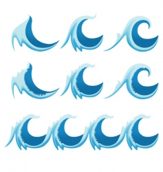 set of sea waves vector image