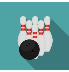Skittles and Bowling Ball Flat Style Icon with vector image