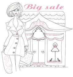 Stylish girl shopping doodle vector