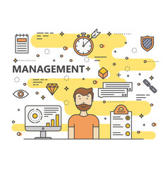 Thin line flat design management concept vector