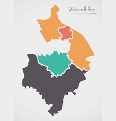 Warwickshire england map with states and modern vector