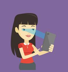 woman using iris scanner to unlock mobile phone vector image