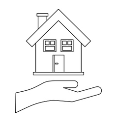 House and palm icon outline style vector