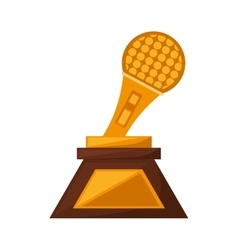 microphone music trophy awards gold vector image