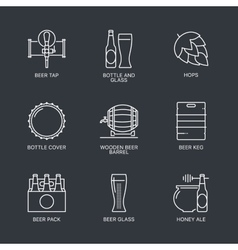 Thin line beer logo concept isolated vector