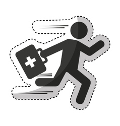 Paramedic running isolated icon vector