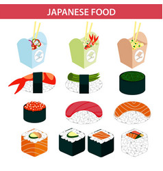 Japanese food sushi and seafood sashimi rolls vector