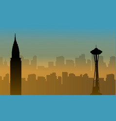 Usa building beauty landscape silhouettes vector