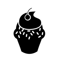 Delicious cupcake isolated icon vector