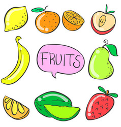 fruit various doodles vector image