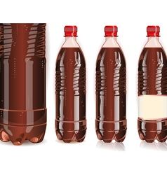 Four plastic bottles of cola with labels vector