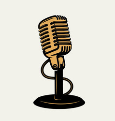 Vintage microphone icon isolated on white vector