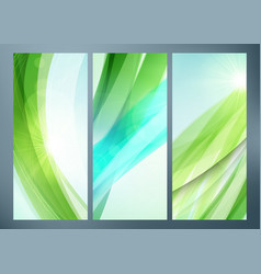 set of abstract green wave backgrounds for poster vector image