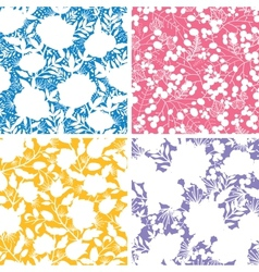 Set of four floral silhouettes seamless patterns vector