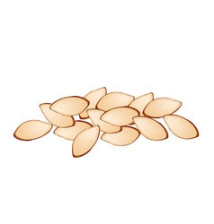 Stack of slice almonds on white background vector
