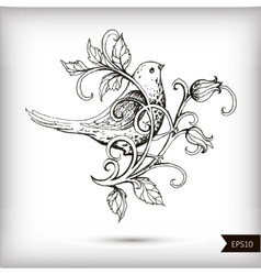 Hand drawn bird with flowers vector