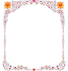 Floral frame with hearts vector