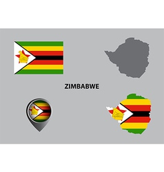Map of zimbabwe and symbol vector