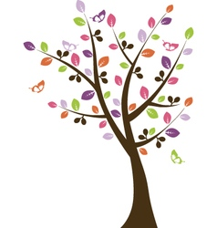 Colorful tree with butterflies vector