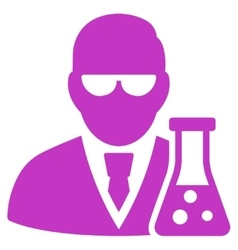 Scientist with flask icon vector