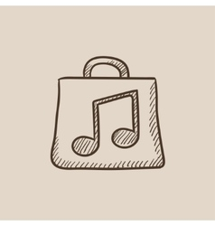 Bag with music note sketch icon vector