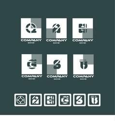 Alphabet letter logo icon set square vector