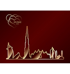 Gold silhouette of dubai on red background vector