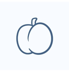 Plum with leaf sketch icon vector