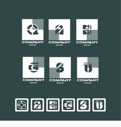 Alphabet letter logo icon set square vector image vector image