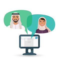 arabic man and woman communicate by internet vector image vector image