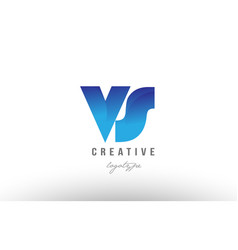 blue gradient vs v s alphabet letter logo vector image vector image