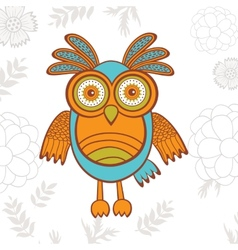 Cute of bright owl character vector image vector image