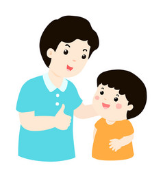 dad admire his son character cartoon vector image vector image