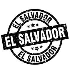 El salvador black round grunge stamp vector