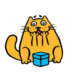 funny orange cat enjoys the gift in the box vector image vector image