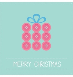 Gift box made from pink buttons Appligue Dash line vector image vector image