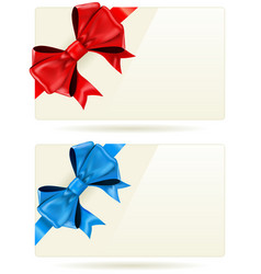 Gift cards with bow and ribbon vector