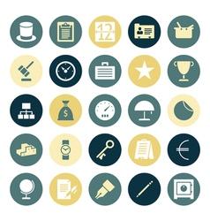 Icons plain round business money vector