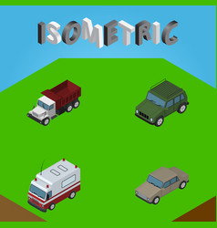 isometric transport set of first-aid auto vector image