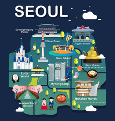 map of seoul vector image