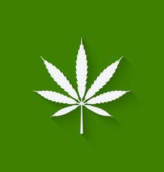 Marijuana leaf on green background vector