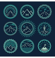 Mountains icons logotypes monogram linear style vector image vector image