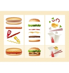 Poster with the ingredients for fast food vector image vector image