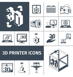 Printer 3d icons vector
