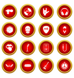 Rock music icon red circle set vector