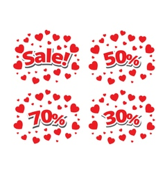 Sale sign over red hearts background vector