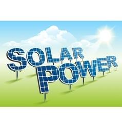Solar power solar panels on green field vector