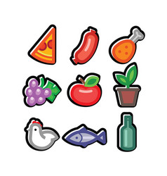 stylized food icons vector image
