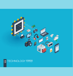 technology integrated 3d web icons growth and vector image