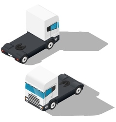 Trucks detailed isometric icons set vector